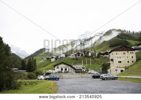 Villages Of Tschlin And Ramosch At Beside Road And Street For Go To Samnaun High Alpine Village