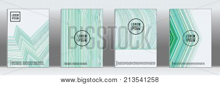 Minimal cover. Vector geometric abstract line pattern for poster design. Set of minimal covers for business brochures. 2d prints for banner background. Graphic pattern for annual album backdrop.