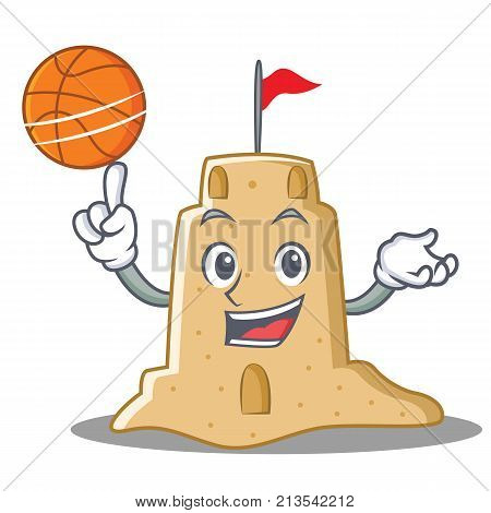 With basketball sandcastle character cartoon style vector illustration