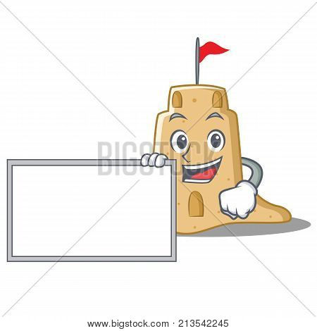 With board sandcastle character cartoon style vector illustration