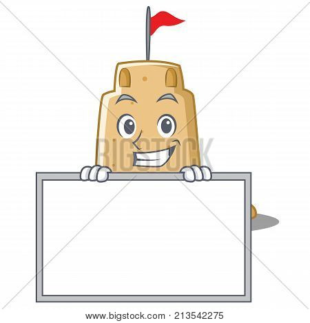 Grinning with board sandcastle character cartoon style vector illustration