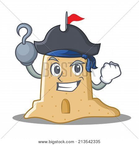 Pirate sandcastle character cartoon style vector illustration