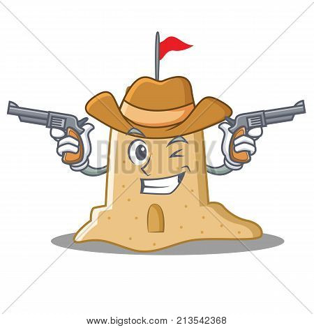 Cowboy sandcastle character cartoon style vector illustration