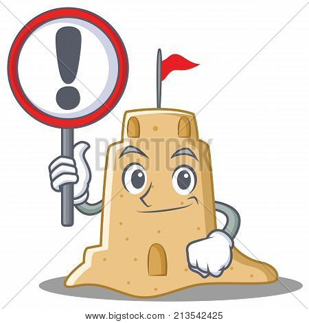 With sign sandcastle character cartoon style vector illustration