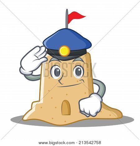 Police sandcastle character cartoon style vector illustration