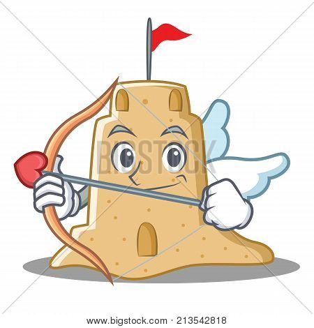 Cupid sandcastle character cartoon style vector illustration