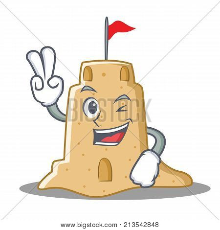 Two finger sandcastle character cartoon style vector illustration