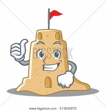 Thumbs up sandcastle character cartoon style vector illustration
