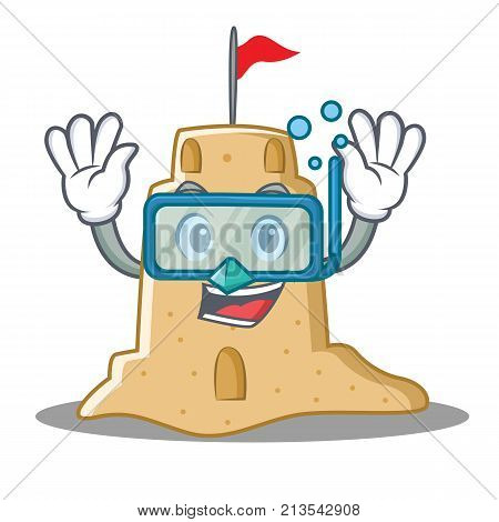 Diving sandcastle character cartoon style vector illustration