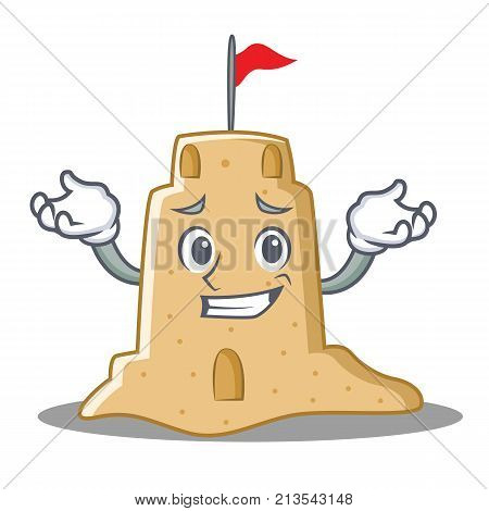 Grinning sandcastle character cartoon style vector illustration