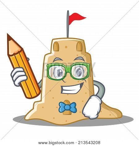 Student sandcastle character cartoon style vector illustration
