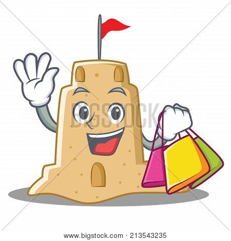 Shopping sandcastle character cartoon style vector illustration