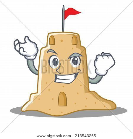Successful sandcastle character cartoon style vector illustration
