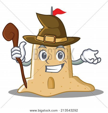 Witch sandcastle character cartoon style vector illustration
