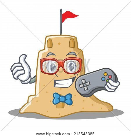 Gamer sandcastle character cartoon style vector illustration