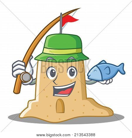 Fishing sandcastle character cartoon style vector illustration