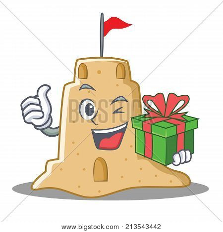 With gift sandcastle character cartoon style vector illustration