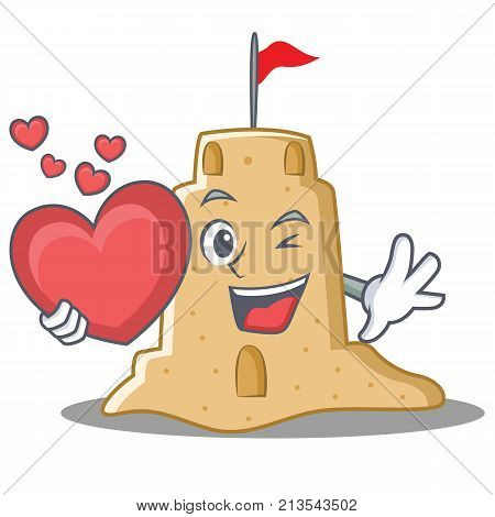 With heart sandcastle character cartoon style vector illustration