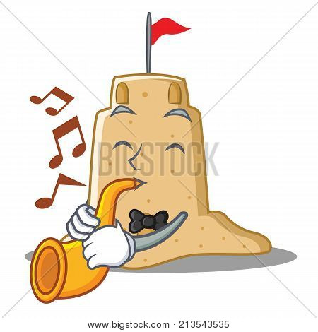 With trumpet sandcastle character cartoon style vector illustration