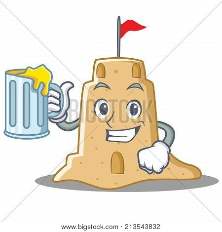With juice sandcastle character cartoon style vector illustration
