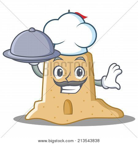 Chef with food sandcastle character cartoon style vector illustration