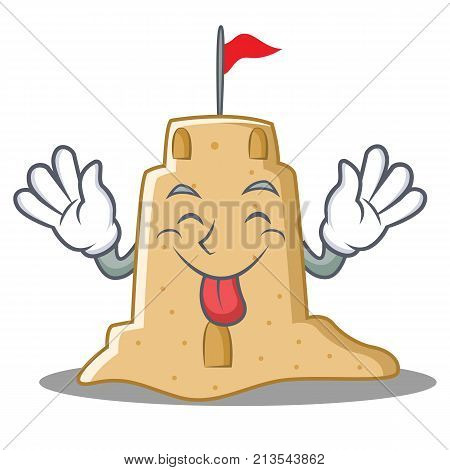 Tongue out sandcastle character cartoon style vector illustration