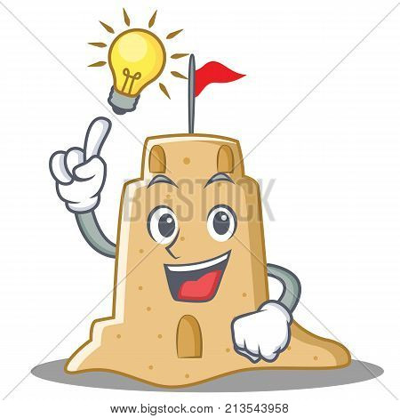 Have an idea sandcastle character cartoon style vector illustration
