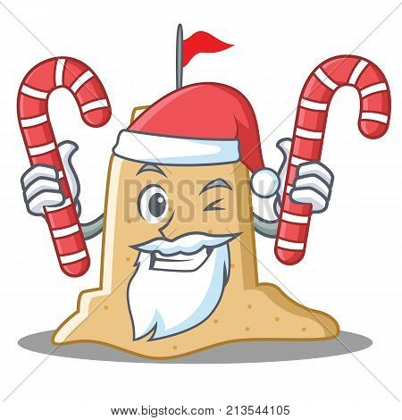 Santa with candy sandcastle character cartoon style vector illustration