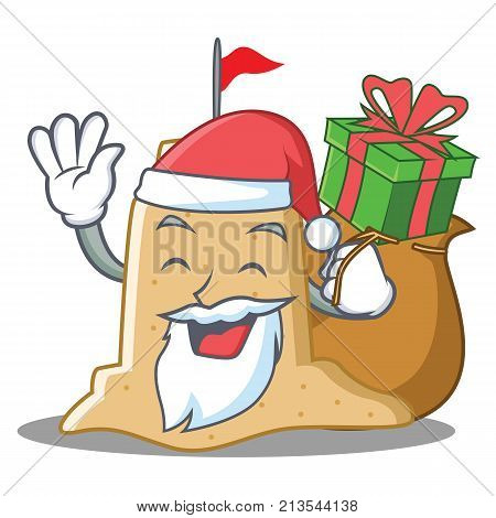 Santa with gift sandcastle character cartoon style vector illustration