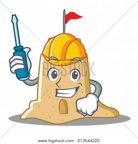 Automotive sandcastle character cartoon style vector illustration