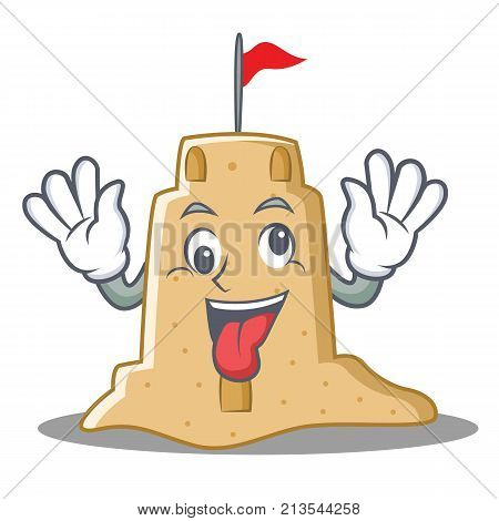 Crazy sandcastle character cartoon style vector illustration