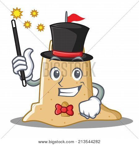 Magician sandcastle character cartoon style vector illustration