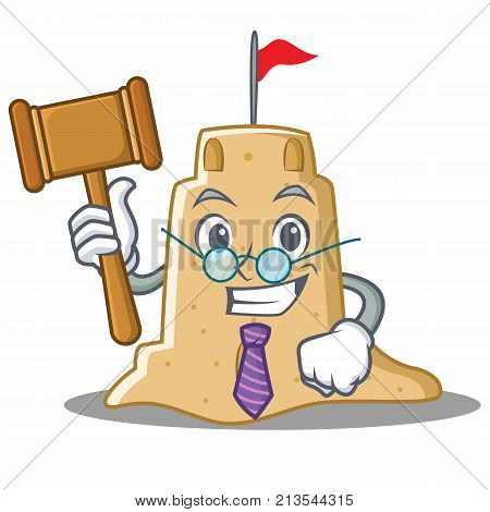 Judge sandcastle character cartoon style vector illustration