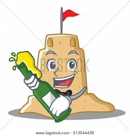 With beer sandcastle character cartoon style vector illustration