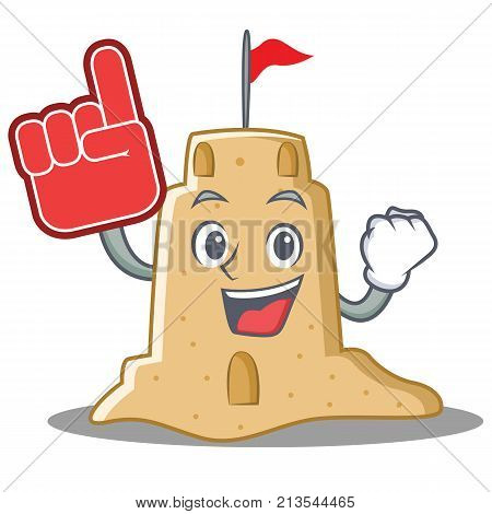 Foam finger sandcastle character cartoon style vector illustration