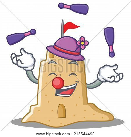 Juggling sandcastle character cartoon style vector illustration