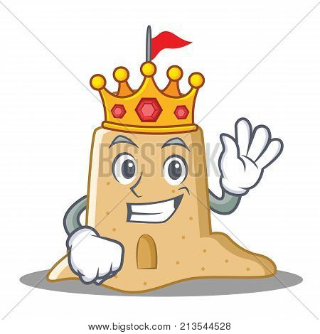 King sandcastle character cartoon style vector illustration