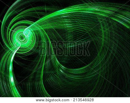 Green technology, hi-tech or sci-fi background - abstract computer-generated image. Fractal geometry: bright spiral with curled rays and light effects. For desktop wallpaper or web design.