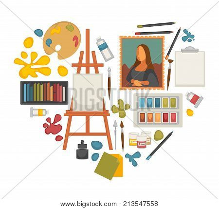 Artist painting tools and artistic materials icons set in heart shape. Vector poster of color oil or watercolor paint palette, brush or pencil and masterpiece picture, pastel and canvas on easel