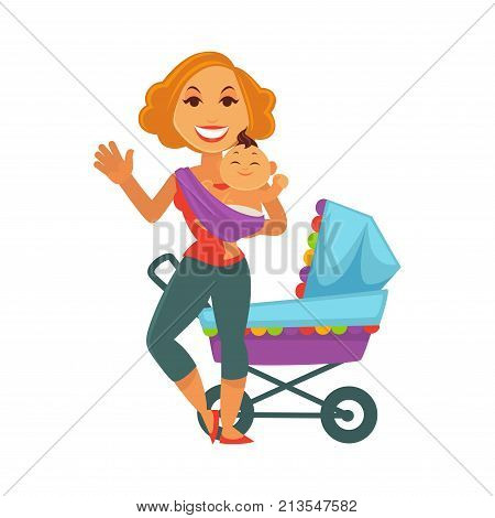 Mother and newborn baby child icons of motherhood and maternity. Vector happy young woman holding infant swaddled child son or daughter with baby carriage