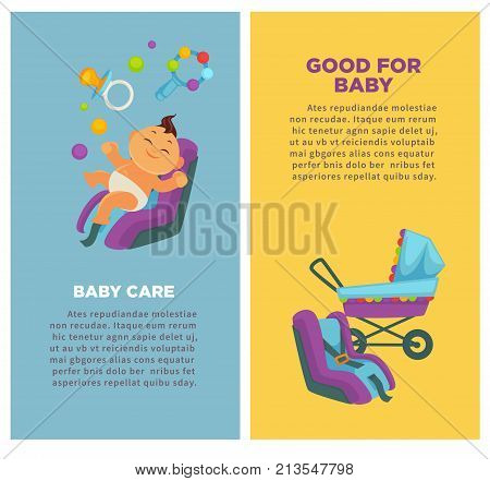 Baby care and newborn child motherhood posters flat design of baby boy in carriage or car safety seat. Vector information on parental mother baby care and happy maternity