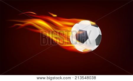 Soccer, European football ball on fire. Resizable vector 3D illustration for your, ready for print design