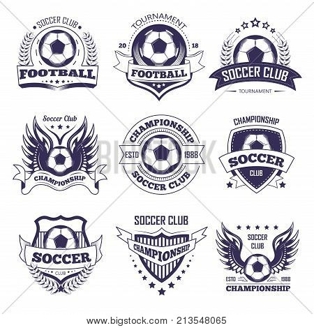 Soccer club or football league championship cup logo templates. Vector isolated icons set of soccer ball, football champion wings and victory wreath star on ribbon shield for sport tournament