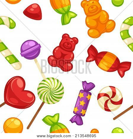 Candy and caramel sweets seamless pattern background. Vector marmalade bears, lollipops or sweetmeats and toffee comfits, candy canes and sugar tutti-frutti sweet confectionery background