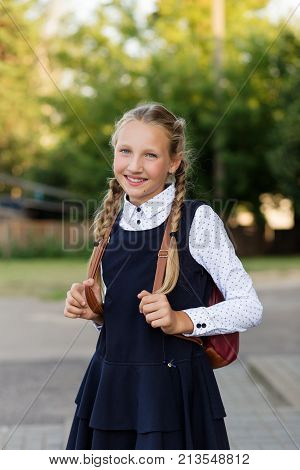 Beautiful Schoolgirl In School Uniform With A Backpack At The School