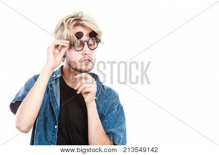 Hipster Artistic Man With Eccentric Glasses