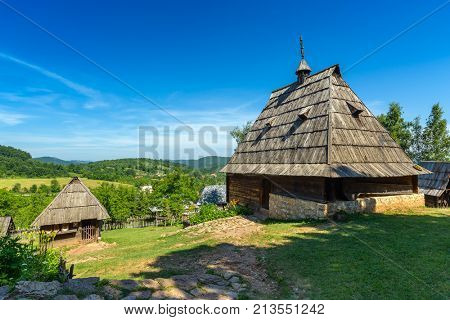 Old house in ethno village Sirogojno in Zlatibor surroundings, Serbia