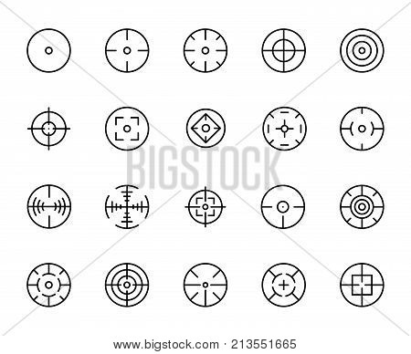 Simple set of crosshair related outline icons. Elements for mobile concept and web apps. Thin line vector icons for website design and development, app development. Premium pack.