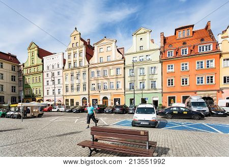 People And Cars On Square Plac Solny In Wroclaw