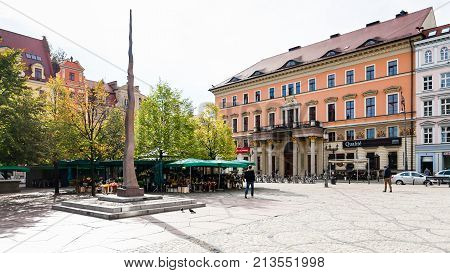 Small Needle Monument On Solny Square In Wroclaw